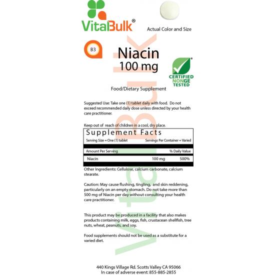 Niacin 100 mg (100 Tablets) VitalBulk (VitalBulk) by Vitanord.eu
